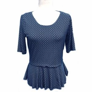 Vince Camuto Navy Blue Ruffle Bottom Top Small